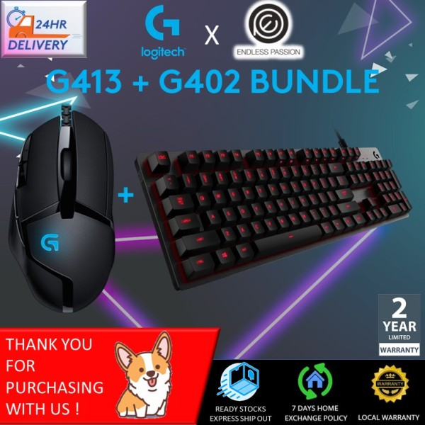 Logitech G402 Mouse + G413 Mechanical Gaming Keyboard Bundle [24 hours delivery]
