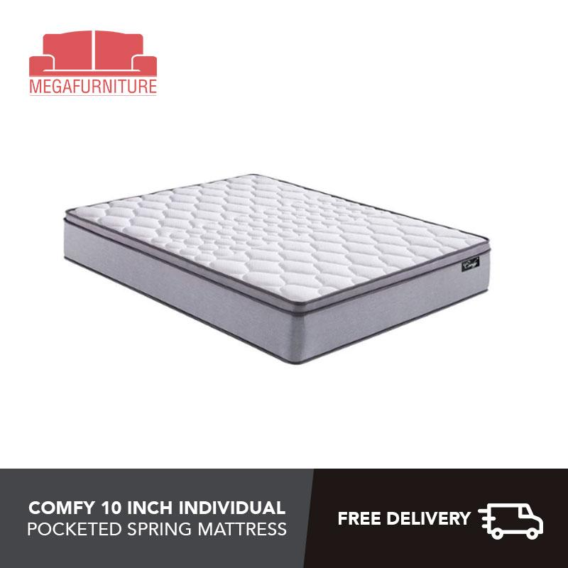 Comfy 10 Inch Individual Pocketed Spring Mattress - 4 sizes Available - Single, Super Single, Queen, King