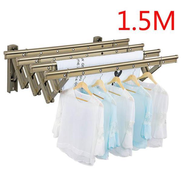 Balcony telescopic drying rack window outdoor push-pull double pole drying rack folding clothes pole outdoor cool clothes drying rack(four pole)