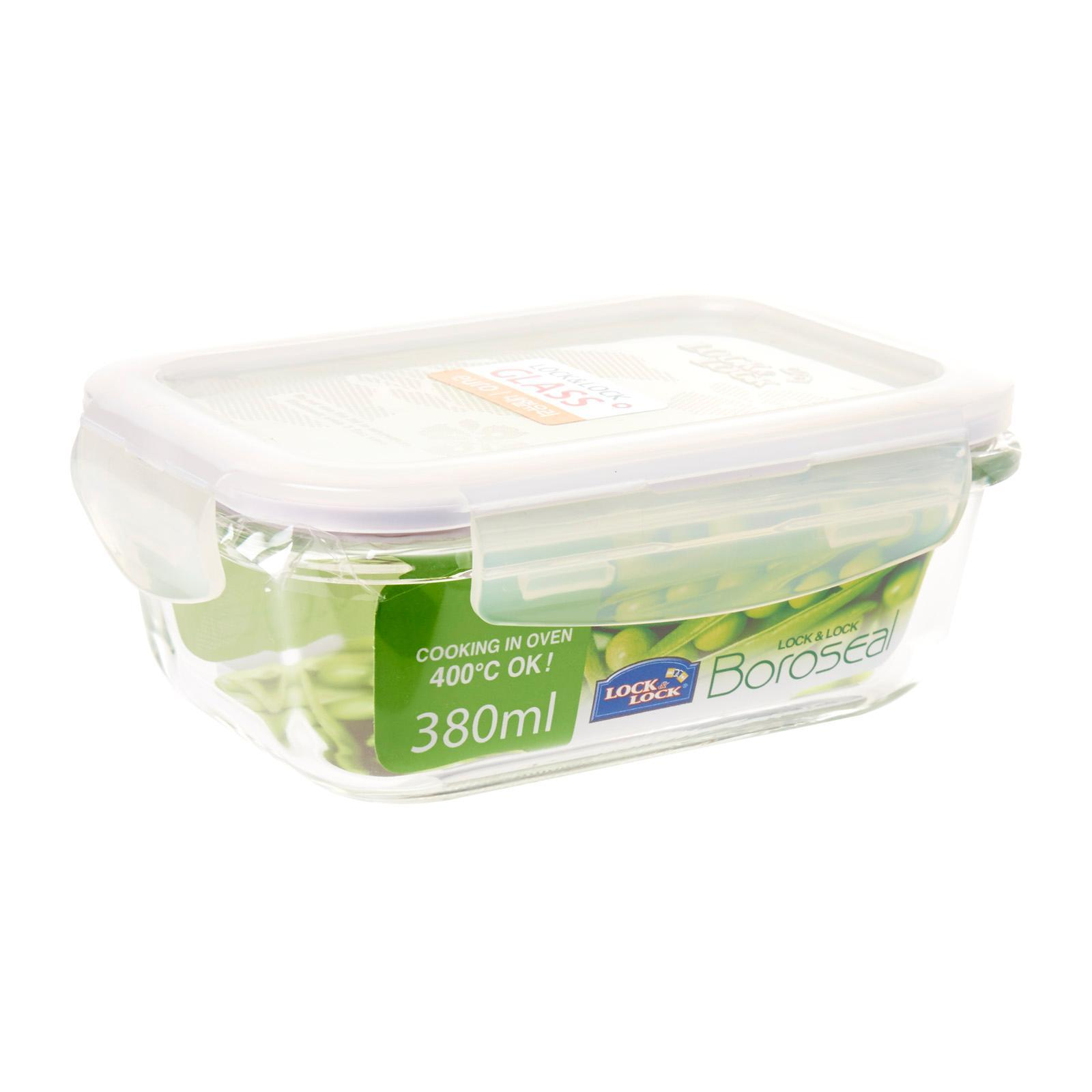 Lock and Lock Heat Resistant Airtight Glass Rectangle 380ML