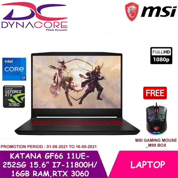 DYNACORE - MSI GF66 11UE-252SG Gaming Laptop (i7-11800H | 16GB RAM | RTX 3060 | 15.6 FHD 144hz | WIN 10 HOME) MSI GF66 11UE