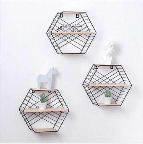 MissHer Wall decorative shelfIron mesh creative Nordic style wall hanging shelf SB37