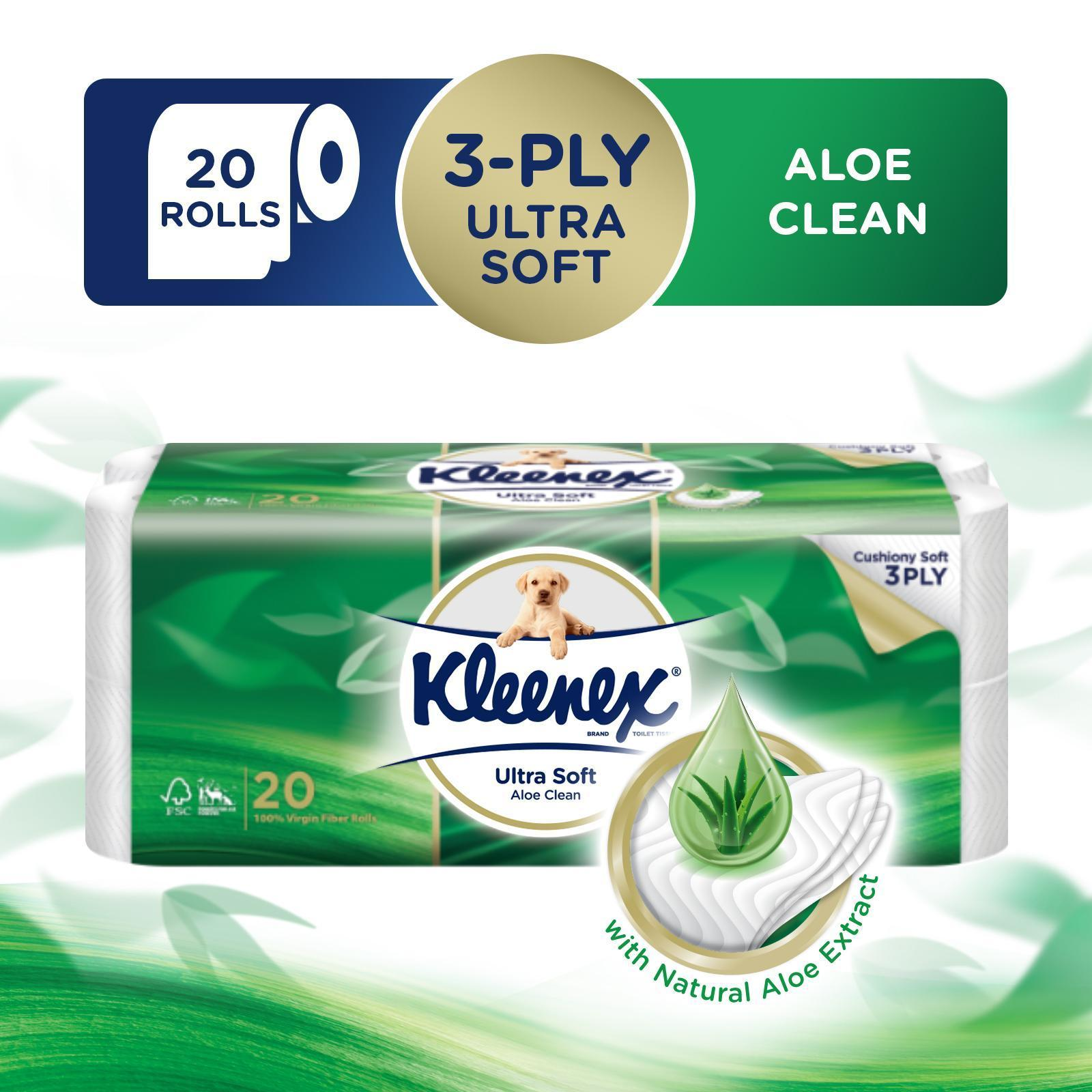 Kleenex Ultra Soft Aloe Clean 3-Ply Toilet Tissue FOC 8 Kleenex Pocket Pack