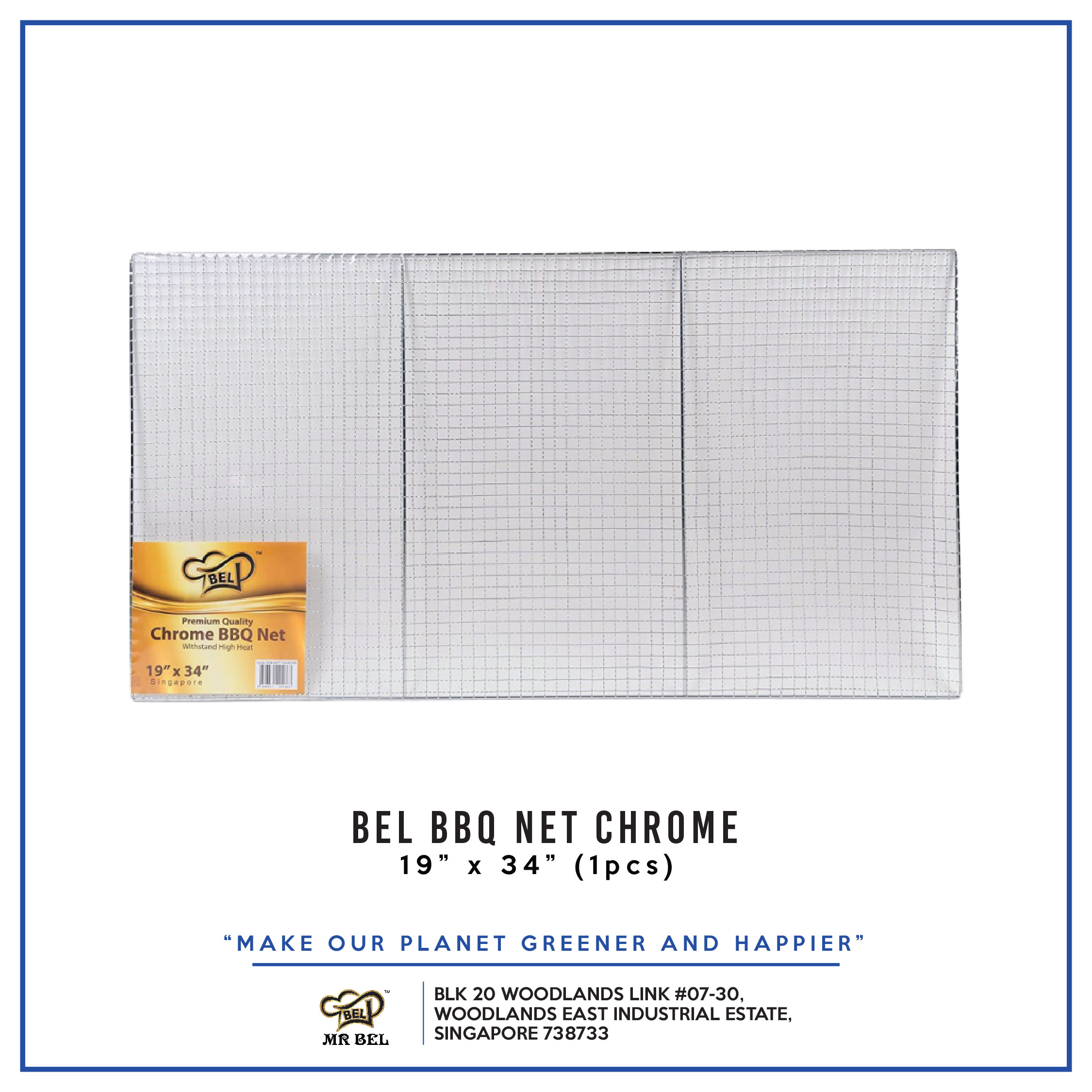 Bel BBQ NET 19  X 34  CHROME per pack - 1 Carton (20packs)