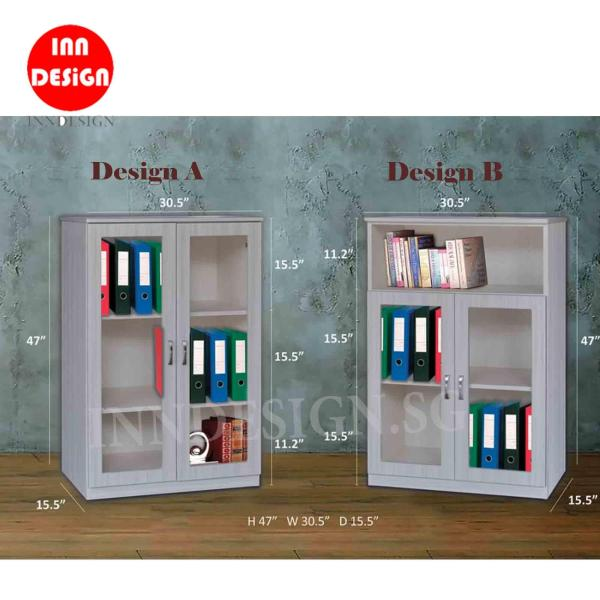 (Delivery As Usual Within 2-3 Working Days) Kimo 2 Doors Filling Cabinet With Glass Door/ Bookshelf / Bookcase (Free Delivery and Installation)
