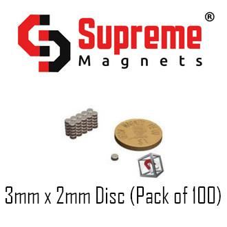 N50 Super Strong Powerful Neodymium Magnets 3mm x 2mm disc (pack of 100) LTS-SM-ND32 Supreme Magnets