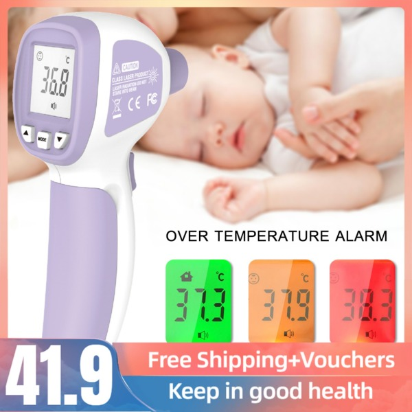 LCD Digital IR Thermometer Non-contact Infrared Forehead Thermometer Fever Thermometer Dual Mode Temperature Meter with Fever Alarm Data Storage