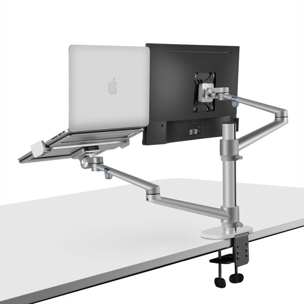 "Monitor Laptop Desk Stand Mount Dual Aluminum Arm for 17-32"" Monitor and 12-17"" Notebook Computer VESA Mount"