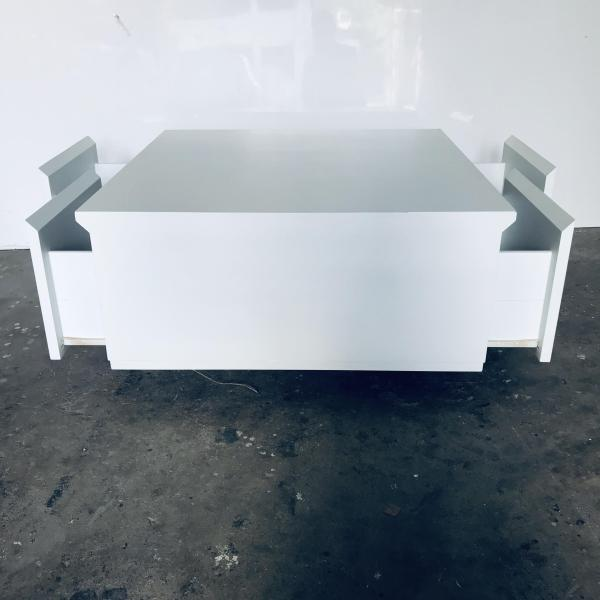 Minimalist Coffee Table with Drawers, White Spray Paint (Brand New)