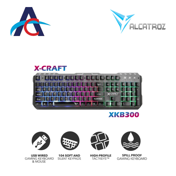 Alcatroz XKB-300 Spill Proof Gaming Keyboard with FX Backlight Effect Singapore