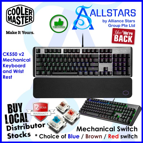 (ALLSTARS : We are Back / Gaming / 12.12 Promo) CM / Cooler Master / CoolerMaster CK550 v2 RGB Mechanical Keyboard and Wrist Rest (CK-550-GKTL1-US) (Warranty 2years with BanLeong) Singapore