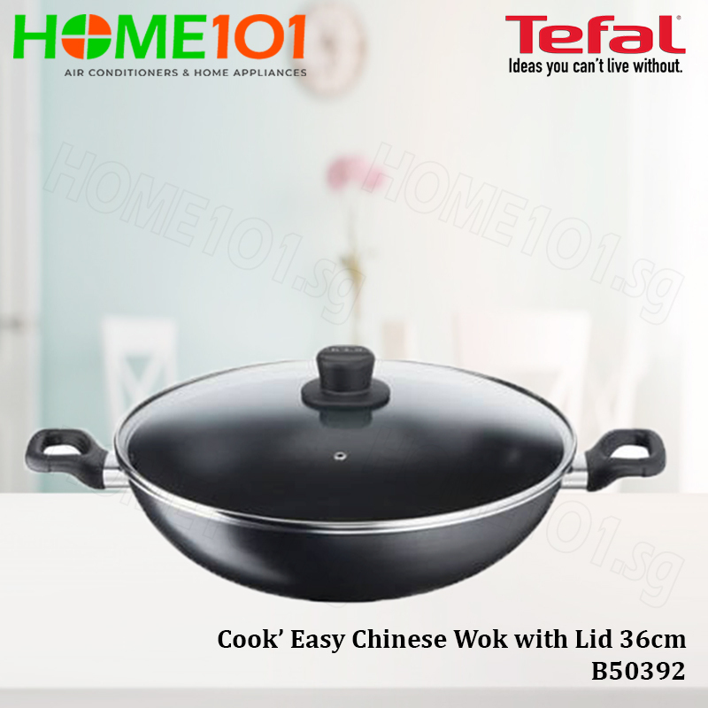 Tefal Cook Easy Cookware Chinese Wok with Lid 36cm B50392 Singapore