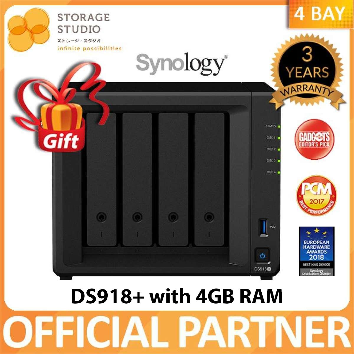 Synology 4 Bay Nas Ds918+ With 4gb Memory. Local Warranty 3 Years. Award Winning Product. ** Synology Official Partner ** By Storage Studio (s) Pte Ltd.
