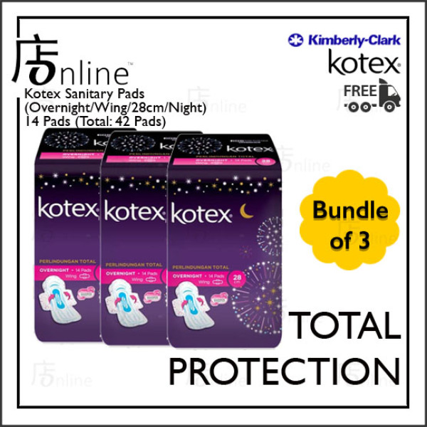 Buy [KOTEX] Sanitary Pads (Total Protection/Overnight/28cm/Wing/Night) Bundle of 3. 14 Pads Singapore