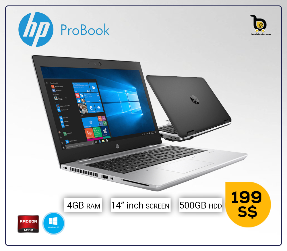 HP ProBook 645 14in LED, AMD A8-5550M 2.1 GHz, 4GB Ram, 500GB HDD, AMD Radeon HD 8550G, Windows 10 Professional