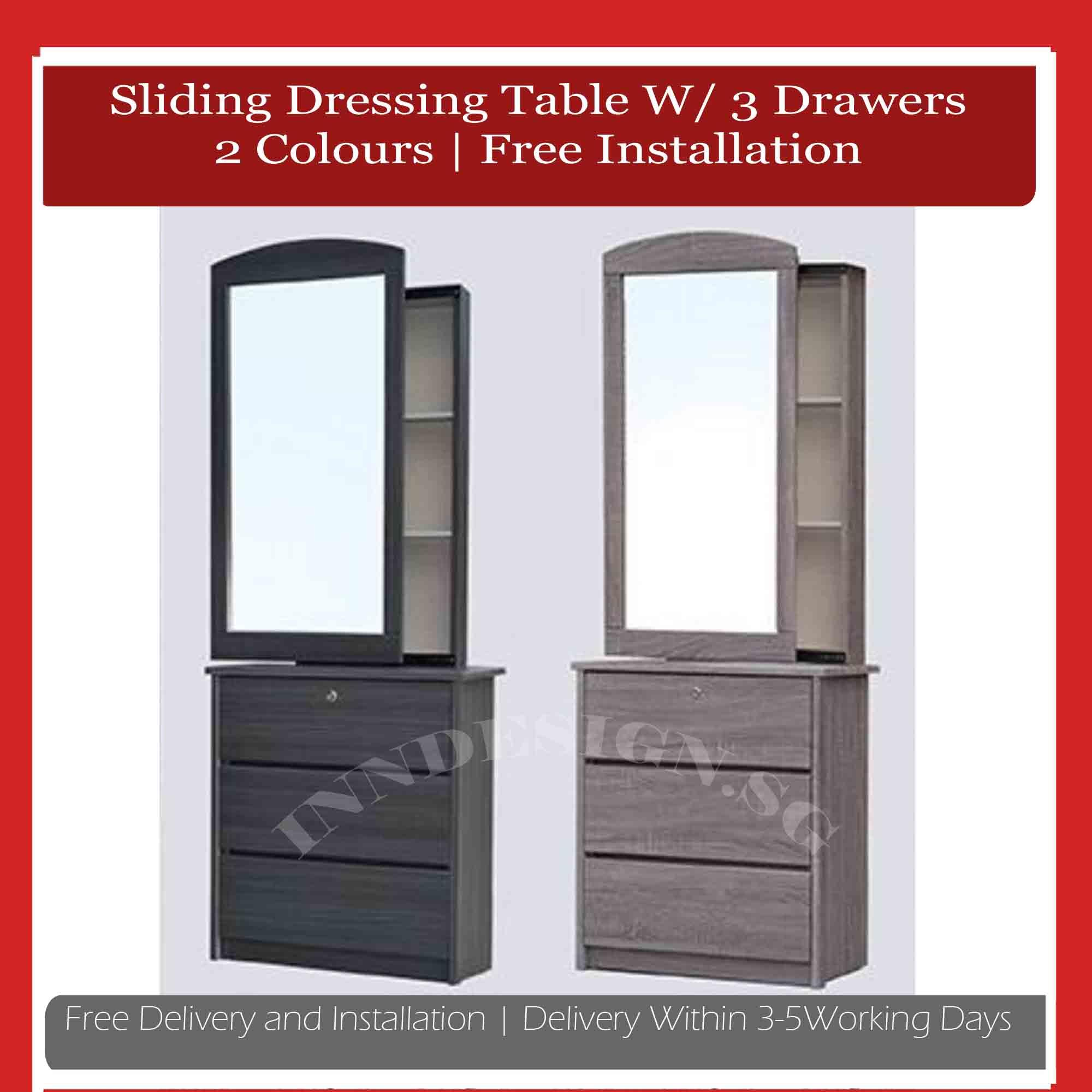 Kyen New Arrival Sliding Dressing Table With 3 Drawers (Free Delivery and Installation) (2 Colours)(Delivery Within 1 Working Day)