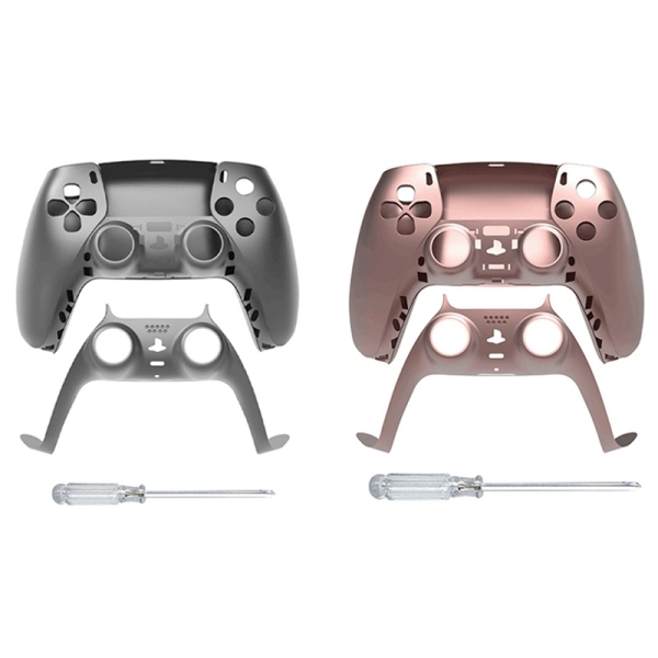 JYS 2 Set Game Controller Replacement Shell Gamepad Case Front Cover Rear Cover for Sony PS5 Handle Set, Gray & Rose Red
