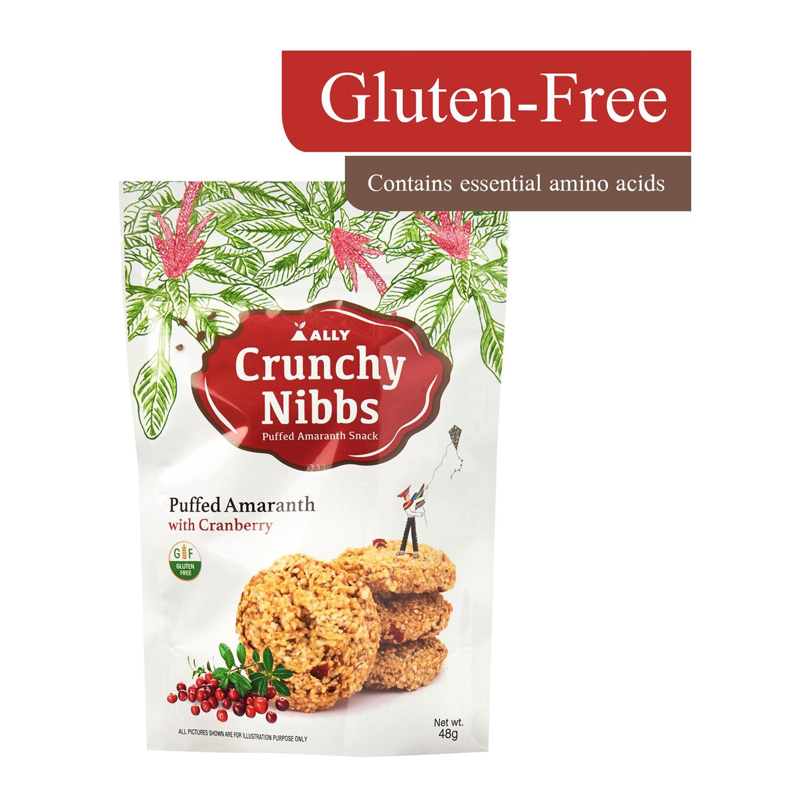 Crunchy Nibbs Puffed Amaranth Snack Cranberry - by Optimo Foods