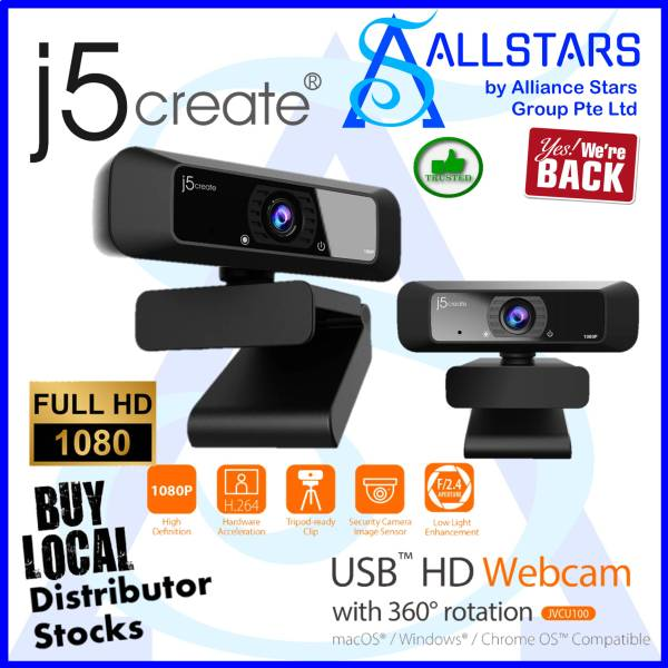 (ALLSTARS : We Are Back Promo) J5CREATE JVCU100 USB HD Webcam with 360 Degree Rotation / 80 Deg Field of View / H.264 Video Compression (Warranty 2years with Digital HUB)