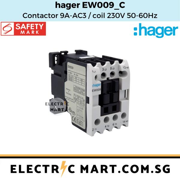 hager EW009 C Contactor 9A 415V AC3 / coil 230V, 50-60Hz