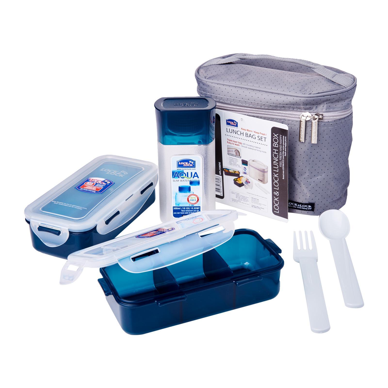 Lock and Lock Classic Lunch Box 2 Pieces With Lunch Bag Grey