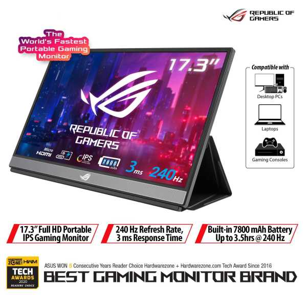 ROG Strix XG17AHPE Portable USB Type-C Gaming Monitor – 17.3-inch, IPS, FHD (FullHD, 1920x1080), 240Hz(Above 144Hz), 3ms response time, Adaptive-sync, Non-Glare, USB-C, Micro-HDMI, Built-in battery for laptop camera console, Smart Cover, Eyecare