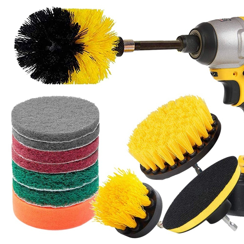 12 Piece Drill Brush Scrub Pads Power Scrubber Brush with Extended Long Attachment All Purpose-Cleaner Scrubbing Cordless Drill for Cleaning Pool Tile