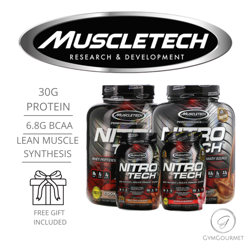Buy Muscletech, NitroTech, Whey Peptides & Isolate Primary Source,All Flavours (2/4ibs) Free Gift Singapore