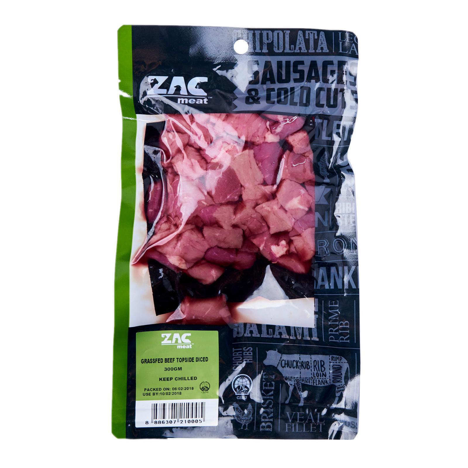 Zac Meat Grass Fed Beef Topside Diced - Australia