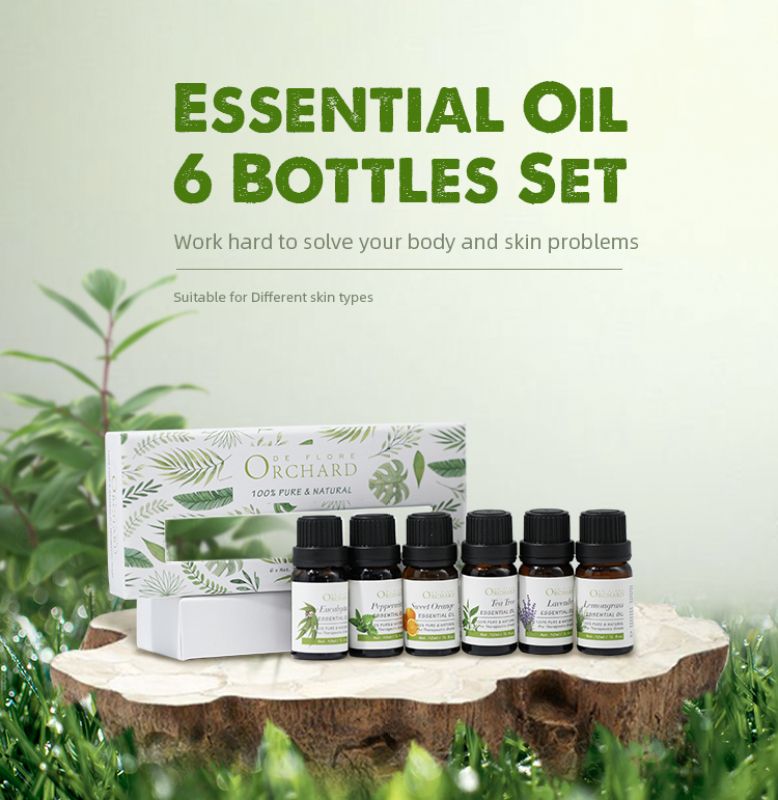 Buy Ode Flore Set of 6 Essential oil (Lavender,Eucalyptus,Sweet orange,Lemongrass,Peppermint,Tea tree) Organic Aromatherapy Singapore