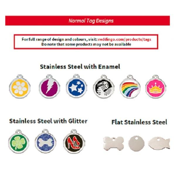 Red Dingo Pet Id Tag / Normal Stainless Steel Tag / Available In Many Different Designs / Free Personalised Engraving / Free Home Delivery By K9 Wellness.