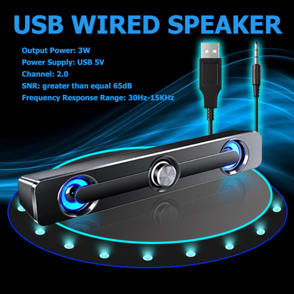 SADA V-111 Computer Speaker USB Wired Powerful Bar Stereo Subwoofer Bass Speaker Surround Sound Box for PC Laptop Phone Tablet MP3 MP4