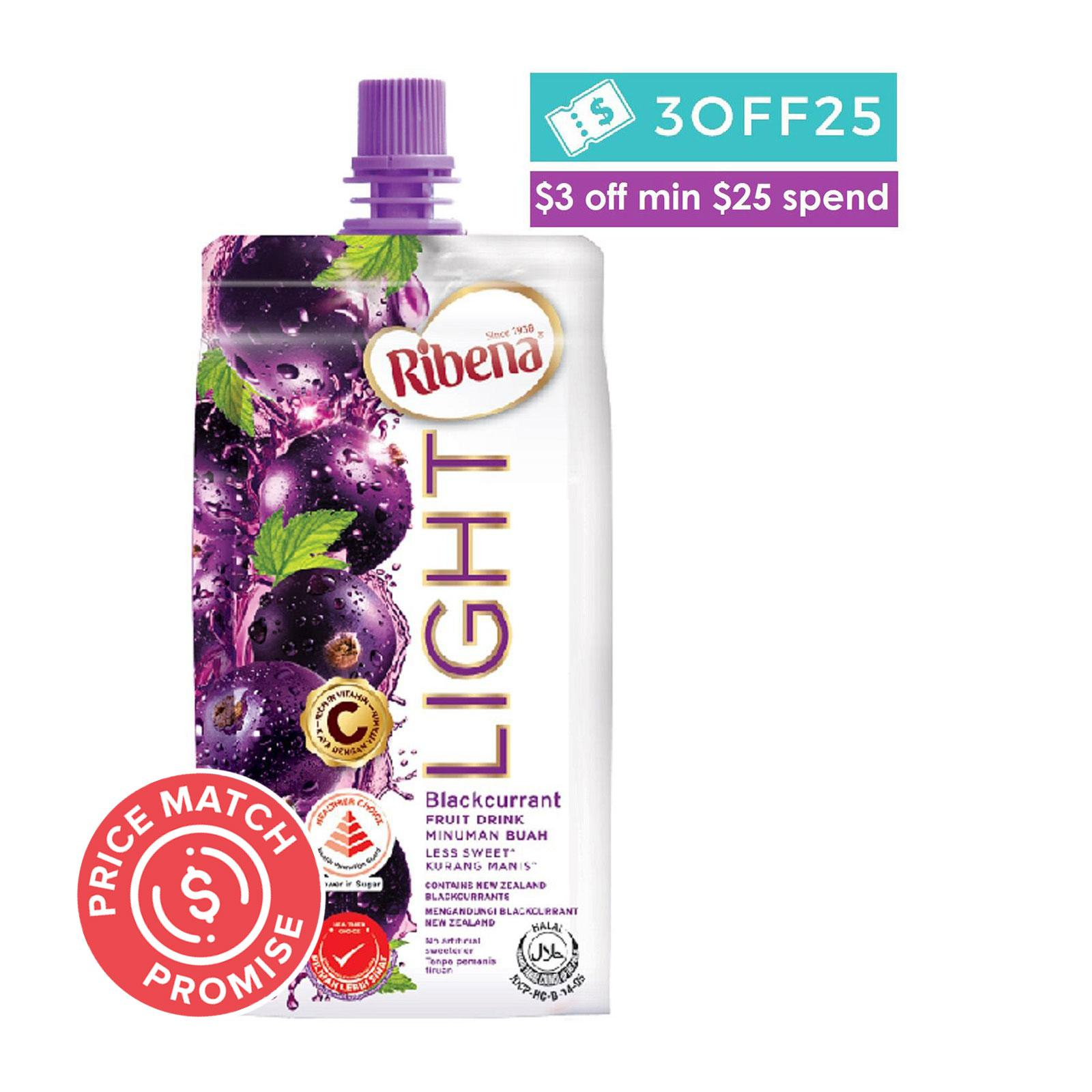 Ribena Cheerpack Less Sweet Blackcurrant Fruit Drink