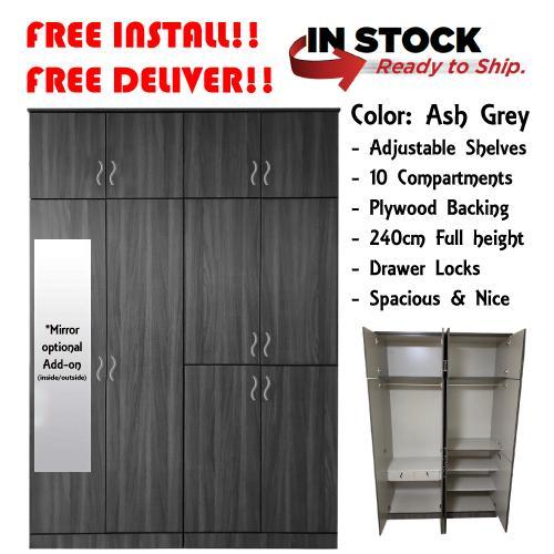 [Furniture Amart] Ash Grey 10 Door Wardrobe Cabinet Organiser Full height (5 Feet)