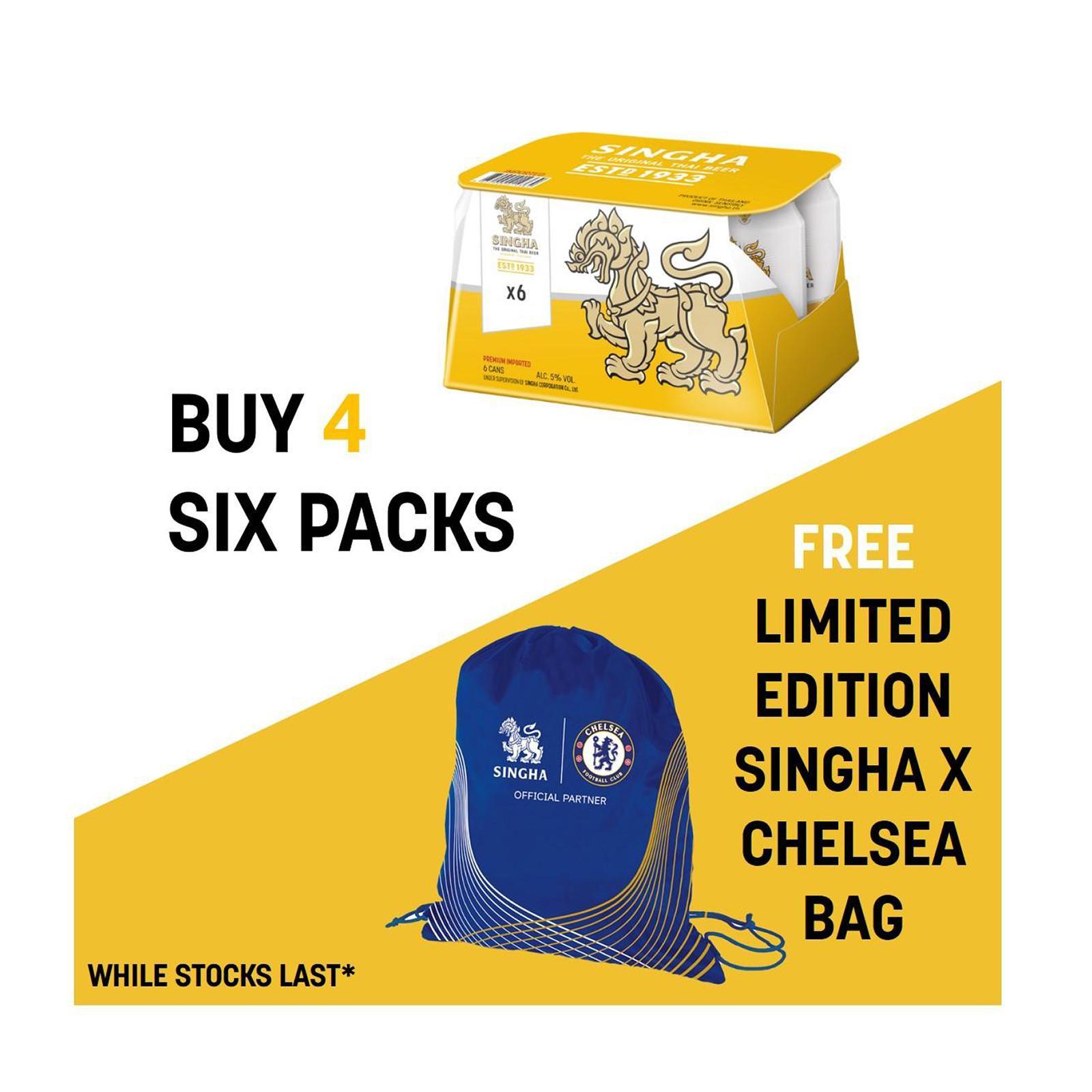 Singha Premium Lager Beer 320ml x 6 Cans