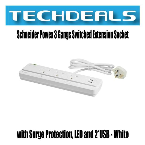Schneider Powex 3 Gangs Switched Extension Socket with Surge Protection, LED and 2*USB - White