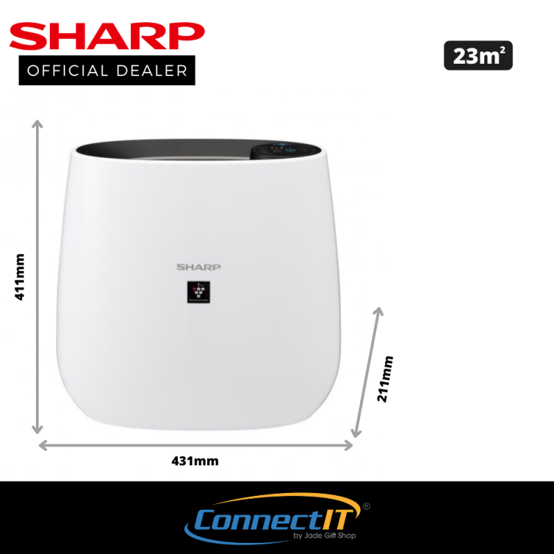 Sharp FP-J30E (Black) Plasmacluster Air Purifier with 23m² coverage area. Low power consumption and quiet operation (25dB). 1 Year Local Warranty Singapore