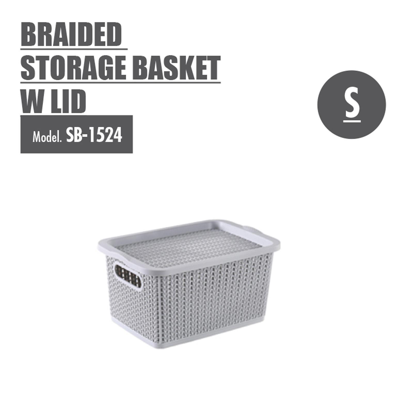 Houze Braided Storage Basket With Lid - Small - SB-1524-GREY
