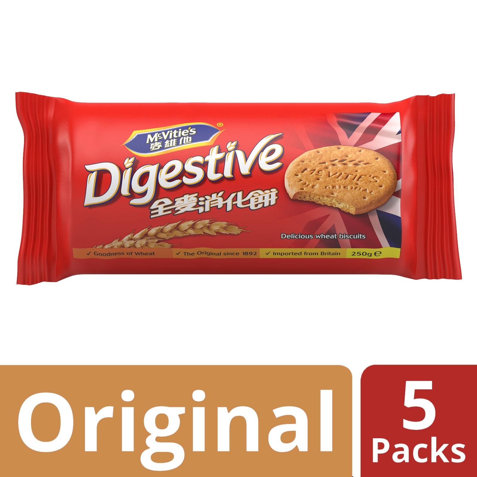 Mcvities Digestive Wheat Biscuits, Original, Pack Of 5, 250g Each By Mondelez Official Store.