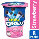Great Deal Mini Oreo Cream Filled Chocolate Sandwich Cookies Strawberry Flavored Cream Pack Of 8 67G Each
