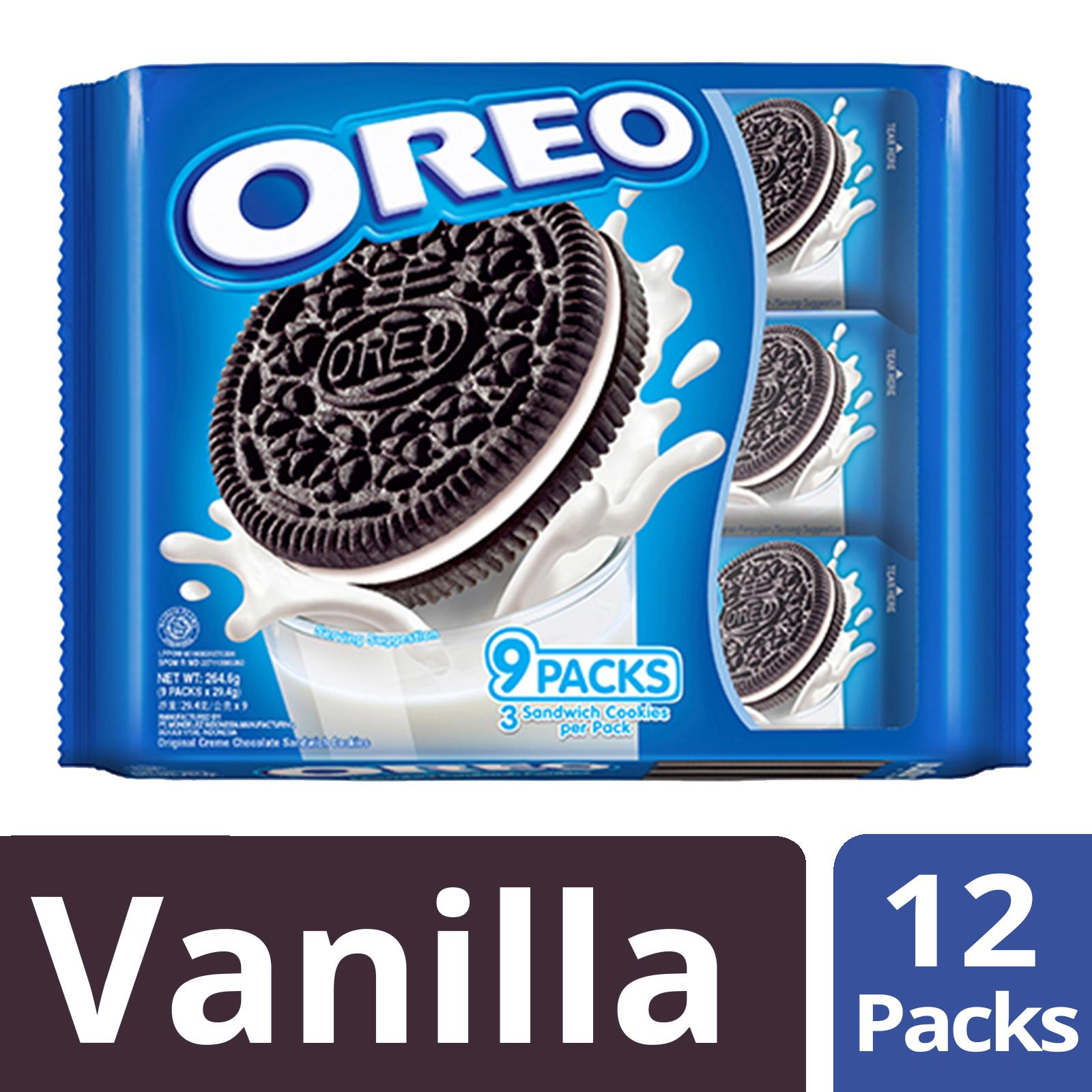 Oreo Cream-Filled Sandwich Cookies, Vanilla Creme, Pack Of 12, 254.6g Each By Mondelez Official Store.