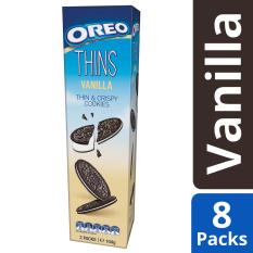 Buy Oreo Thins Cream Filled Chocolate Sandwich Thin And Crispy Cookies Vanilla Flavour Pack Of 8 95G Each