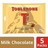 Toblerone Tiny Swiss Milk Chocolate With Honey and Almond nougat, Pack of 5 Share bags, 200 g each