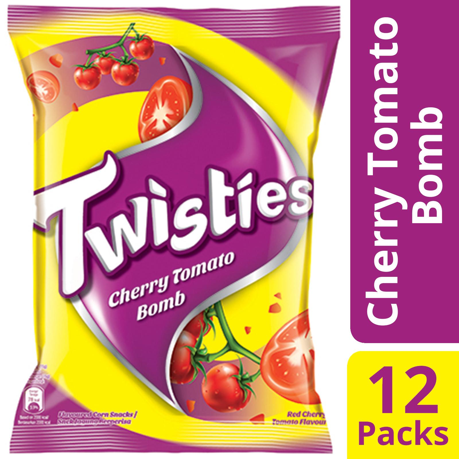 Twisties Corn Snacks, Cherry Tomato Bomb, Pack Of 12, 65g Each By Mondelez Official Store.