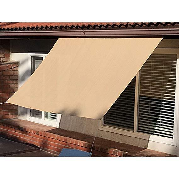 Sun Shade Panel Privacy Screen for Patio Awning Window Cover Pergola or Gazebo with Grommets on 4 Sides Beige