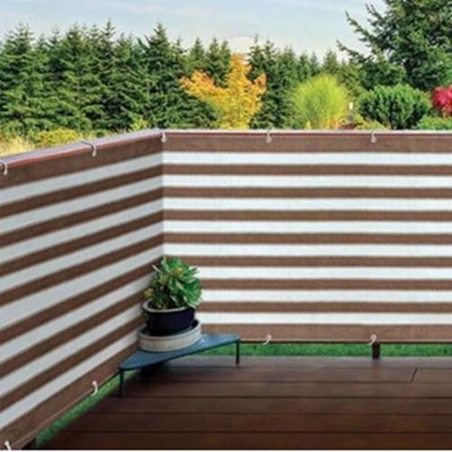 Privacy Screen Windscreen for Backyard Deck, Patio, Balcony, Fence, Porch Coffee Stripe