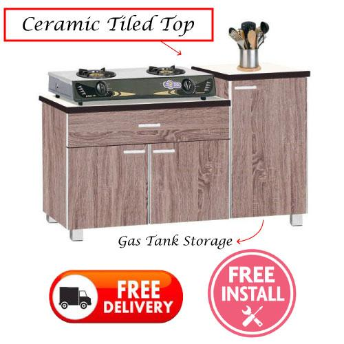 [Furniture Amart] Kitchen Cabinet Organiser  3 Door Storage Open Door  (Ceramic Top)