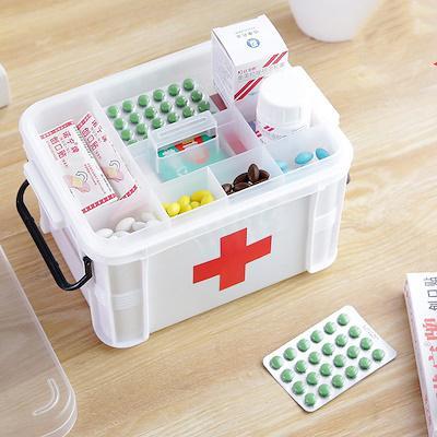 [SG Seller]Truslink Plastic Medicine Box Household Baby Medicine Chest Medical Box Medicine Storage Box Multi-Layer Box