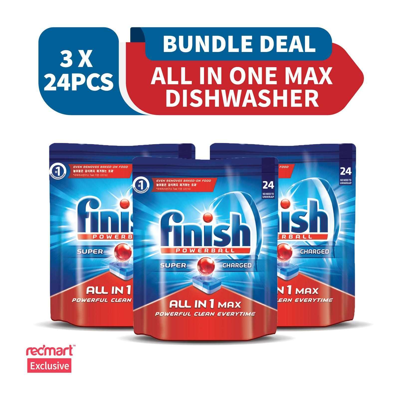 Finish All In One Max Super Charged PowerBall Dishwasher Tablets - 72 Tablets (Mega Bundle Pack)