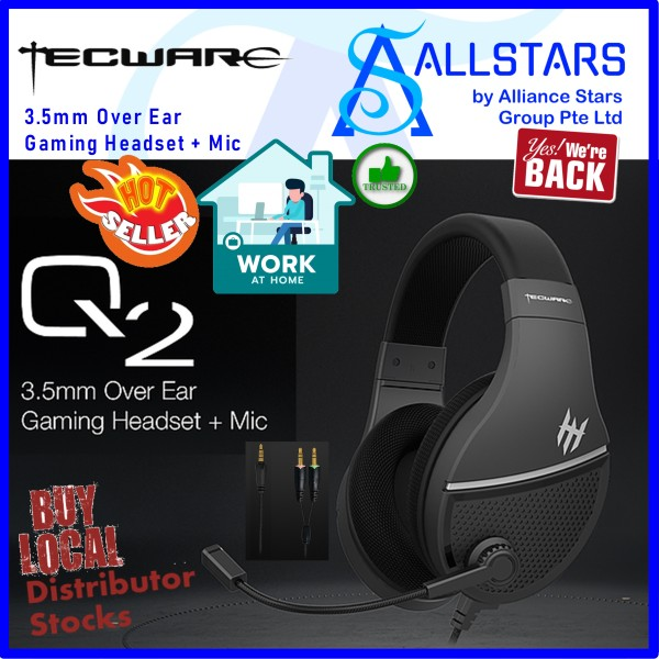 (ALLSTARS : We are Back / WFH / Gaming Promo) Tecware Q2 3.5mm Over Ear Gaming Headset + Mic (TWAC-Q2BK) (Warranty 1year with TechDynamic)